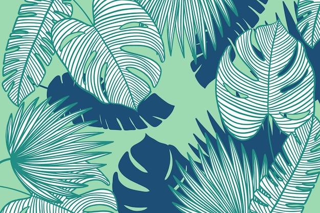 Liniowe Liście Tropikalne Z Tapetą W Pastelowym Kolorze Darmowych Wektorów