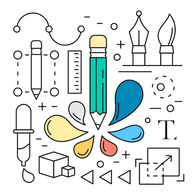 Liniowy Cyfrowy Ikony Narzędzi Projektowania Darmowych Wektorów