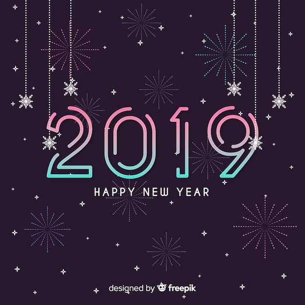 Liniowy nowy rok tło Darmowych Wektorów