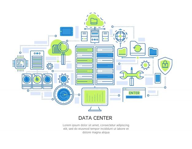 Liniowy Projekt Centrum Danych, W Tym Infrastruktura Serwera I Bezpieczeństwo Informacji, Przechowywanie W Chmurze I System Mikroczipów Darmowych Wektorów