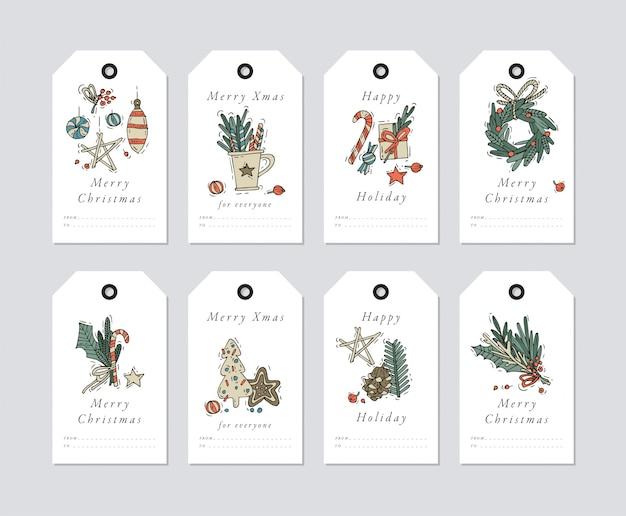 Liniowy Projekt Elementy świąteczne Pozdrowienia Na Białym Tle. świąteczne Tagi Zestaw Z Typografią I Kolorowe Ikony. Premium Wektorów