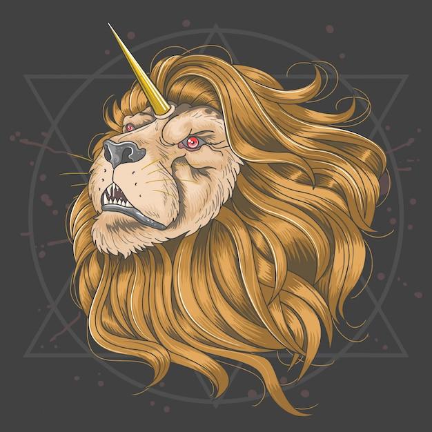 Lion horn unicorn złote włosy Premium Wektorów