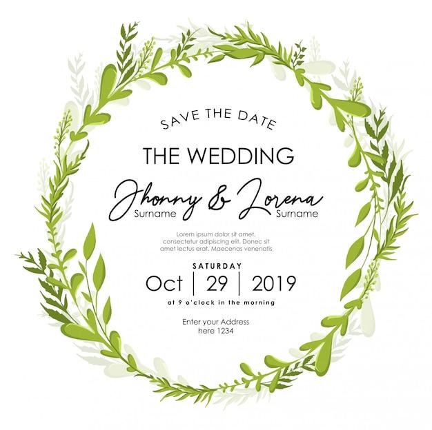 Liść kwiatowy wesele zaproszenie rama akwarela szablon Premium Wektorów
