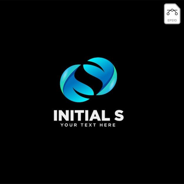 Liść litery s, początkowy szablon logo Premium Wektorów
