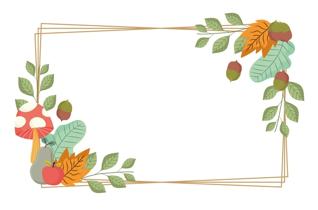 Liście Grzyb Jabłko żołądź Gałęzie Liście Natura Rama Ilustracja Premium Wektorów
