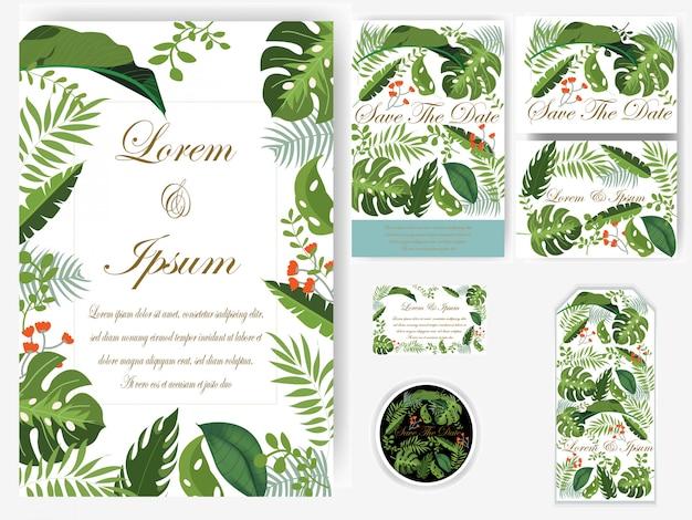 Liście zieleni karta ślubu i przywieszka Premium Wektorów