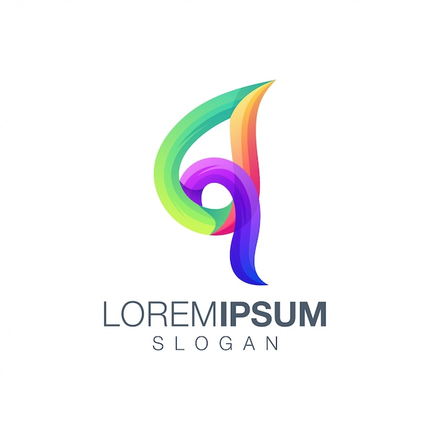 List logo q gradient kolor logo Premium Wektorów