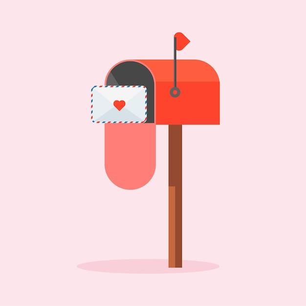 List Miłosny Do Bratniej Duszy Lub Partnera. Zdobiona Koperta Z Serduszkiem. Czerwona Skrzynka Pocztowa Z Listem W środku W Stylu Cartoon. Walentynki Premium Wektorów