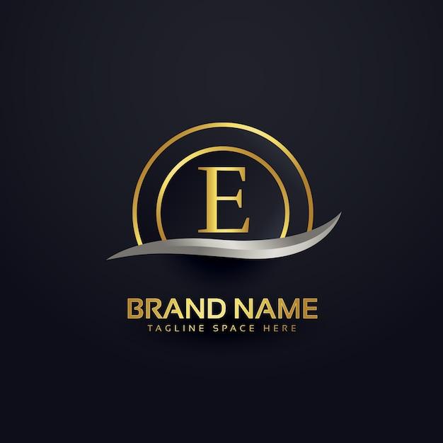 List Premium E Projekt Logo Złoty Szablon Darmowych Wektorów
