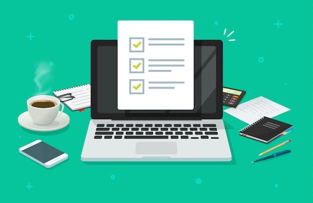 Lista Kontrolna Dokument Lub Ankieta Formularz Zadania Online Na Laptopie Na Pracującym Biurku Mieszkania Kreskówce Premium Wektorów
