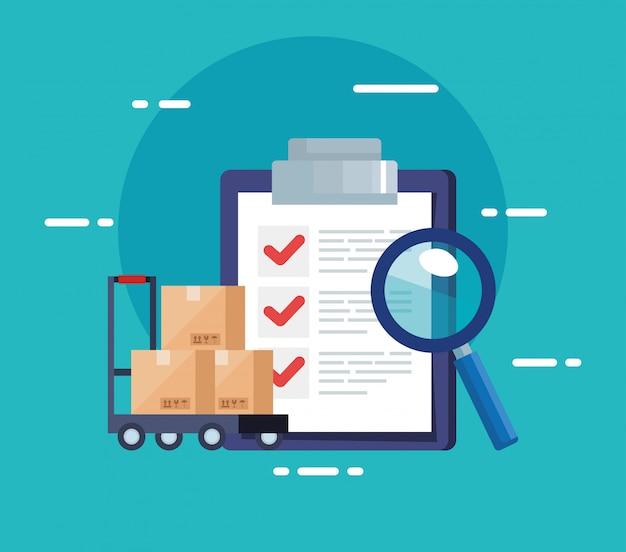 Lista Kontrolna Usługi Logistyki Dostaw I Ikon Premium Wektorów