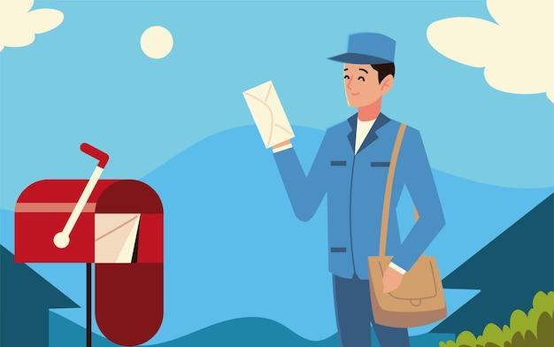 Listonosz Pocztowy Z Kopertą I Skrzynką Pocztową Na Ulicy Premium Wektorów