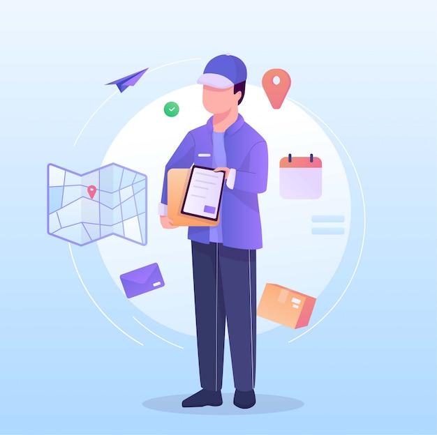 Listonosz przynosi paczkę na całym świecie ilustracji Premium Wektorów