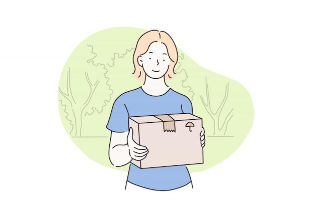 Listonosz, wysyłka, dostawa, koncepcja kuriera Premium Wektorów
