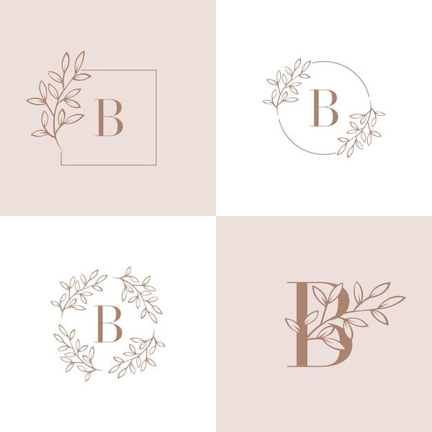 Litera b logo z elementem liści orchidei Premium Wektorów