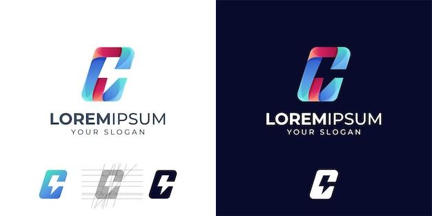 Litera C Z Inspiracją Do Projektowania Logo Energii. C Logo Grzmotu. C Logo Premium Wektorów