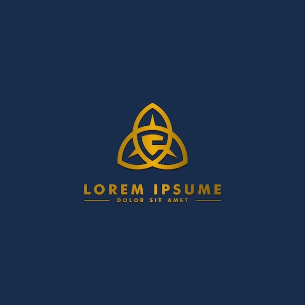 Litera e logo szablon, ikona streszczenie tarcza Premium Wektorów