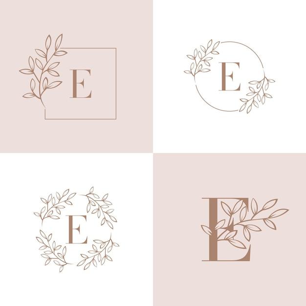 Litera e logo z elementem liści orchidei Premium Wektorów