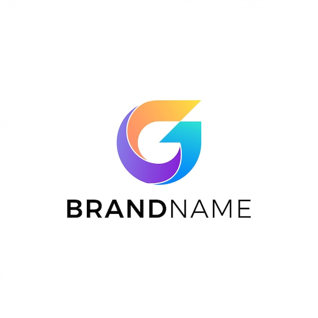 Litera g logo wektor na białym tle Premium Wektorów