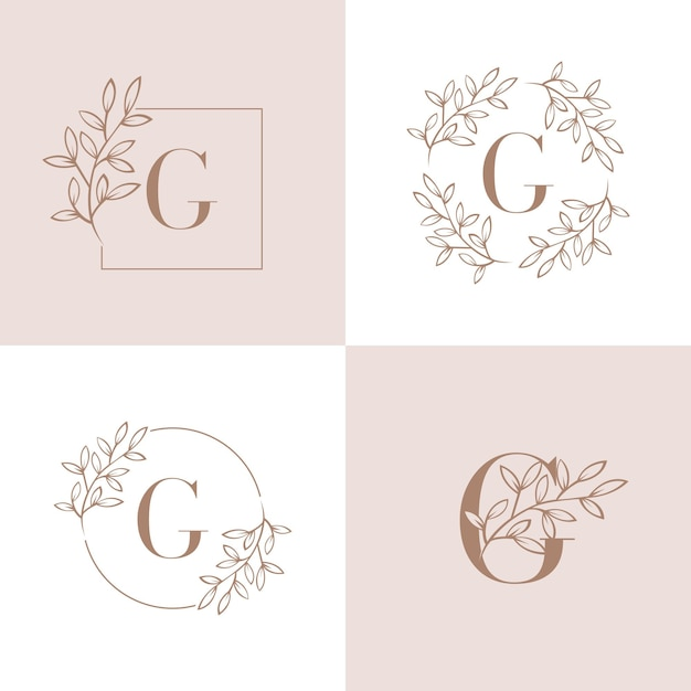 Litera g logo z elementem liści orchidei Premium Wektorów