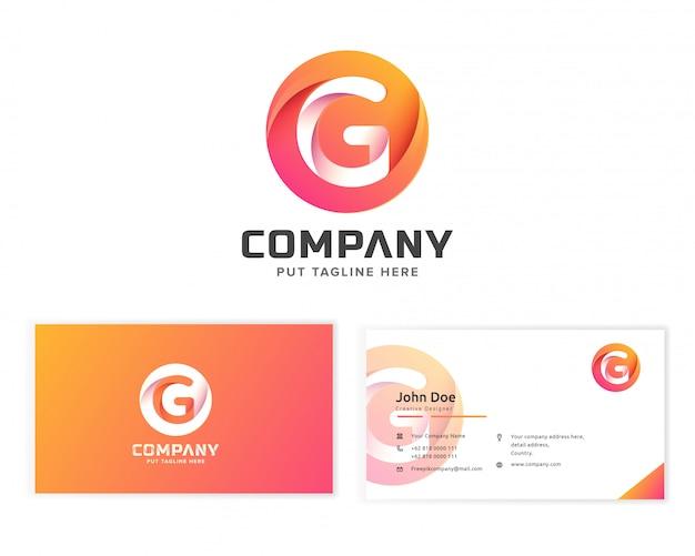 Litera G Logo Z Wizytówką Papeterii Premium Wektorów