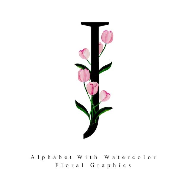 Litera J Akwarela Kwiatowy Tło Wektor Premium Pobieranie