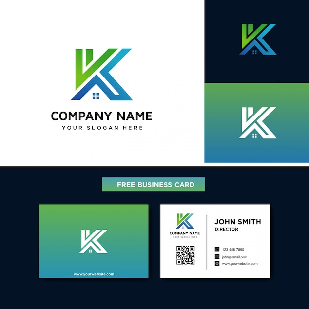 Litera k z logo house Premium Wektorów
