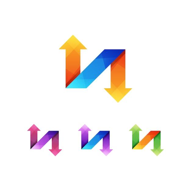 Litera N Strzałka Logo Koncepcja Premium Wektor Premium Wektorów