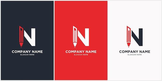 Litera Nz Ikoną Logo Ołówka Na Białym Tle Premium Wektorów