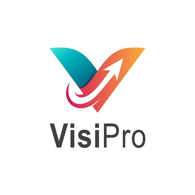 Litera początkowa vz logo firmy ze strzałką Premium Wektorów