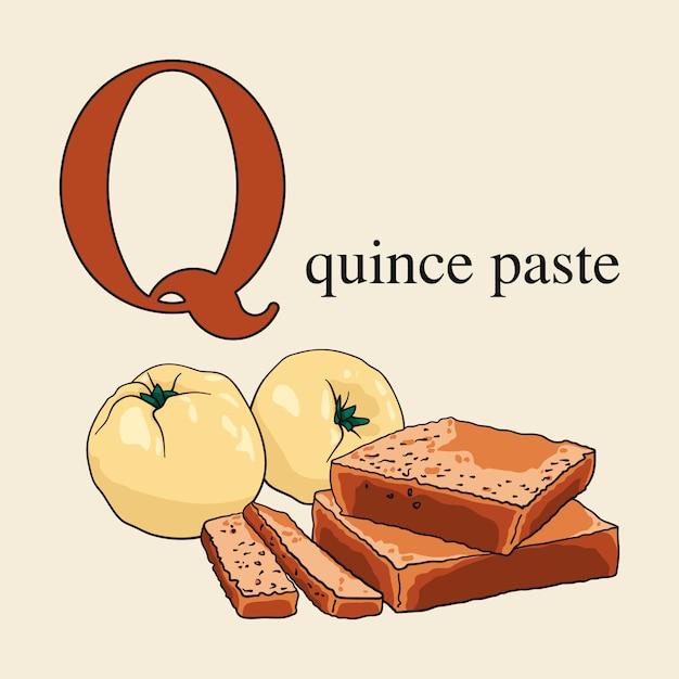 Litera q z pastą pigwy. ilustrowany alfabet angielski ze słodyczami. Premium Wektorów