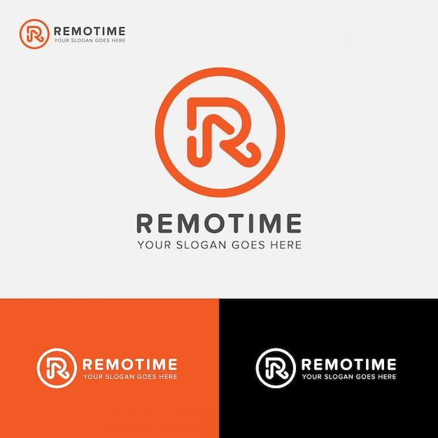 Litera r cyfrowa agencja logo wektorowa ikona Premium Wektorów