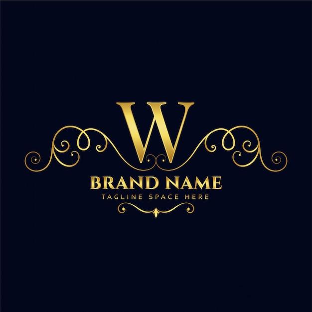 Litera W Koncepcja Logo Royal Vintage Złoty Luksus Darmowych Wektorów