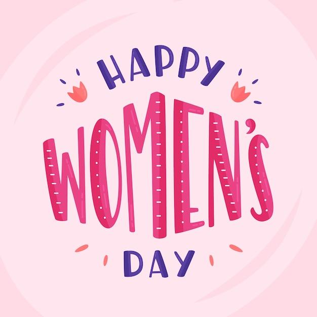 Literowanie Dzień Kobiet Na Różowym Tle Darmowych Wektorów