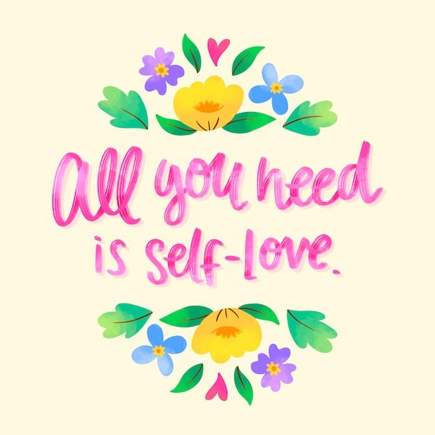 Literowanie Własnej Miłości Z Kwiatami Darmowych Wektorów