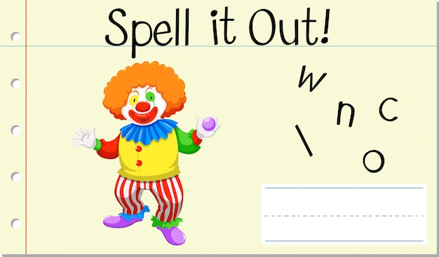 Literuj Angielskie Słowo Clown Darmowych Wektorów