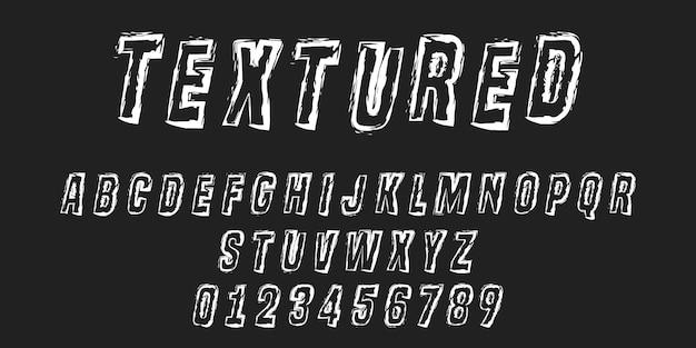 Litery Alfabetu I Cyfry Obrysu Tekstury Premium Wektorów
