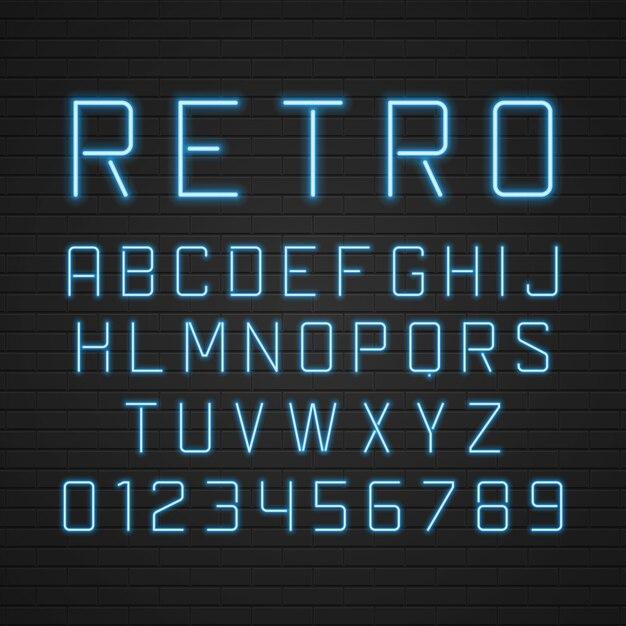 Litery alfabetu szyld retro z elementami światła neonowe lampy ustawione. Premium Wektorów