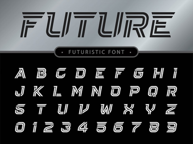 Litery Alfabetu Ustawione Dla Technologii Premium Wektorów