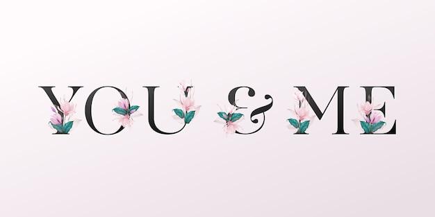Litery alfabetu z akwarela kwiaty na miękkim różowym tle Premium Wektorów