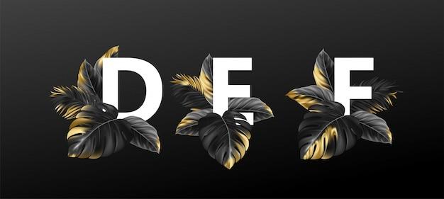 Litery Alfabetu Z Egzotycznymi Tropikalnymi Liśćmi Roślin. Premium Wektorów
