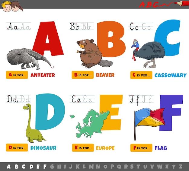 Litery Alfabetu Z Kreskówek Edukacyjnych Dla Dzieci Od A Do F. Premium Wektorów