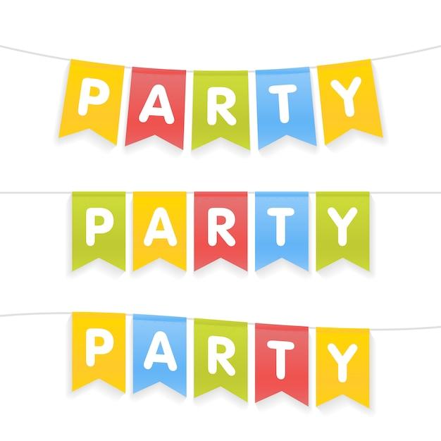 Litery Flagi Partii Na Imprezę Dla Dzieci Premium Wektorów