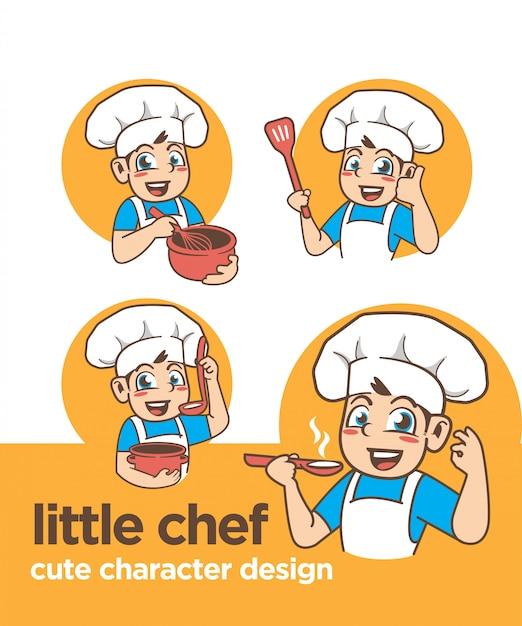 Litte kucharz z uroczym charakterem Premium Wektorów