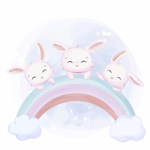 Little Bunnies Przyjaźń Na Rainbow Premium Wektorów
