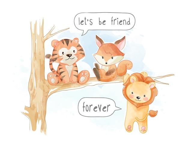 Little Cute Animal Friends Na Gałęzi Drzewa Ilustracja Premium Wektorów