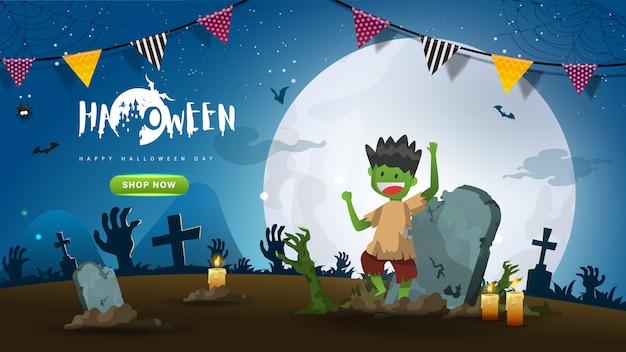 Little cute zombie na tle ciemnej nocy Premium Wektorów