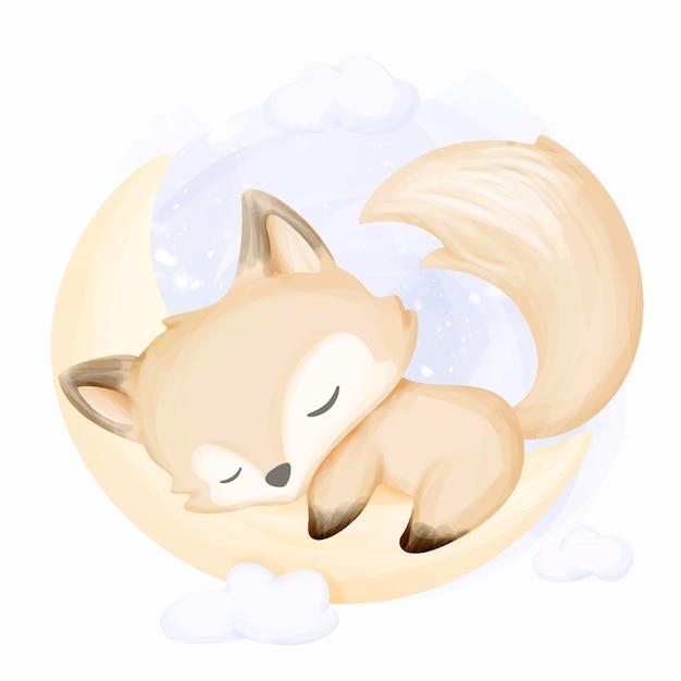 Little Fox Sleep On Moon Premium Wektorów