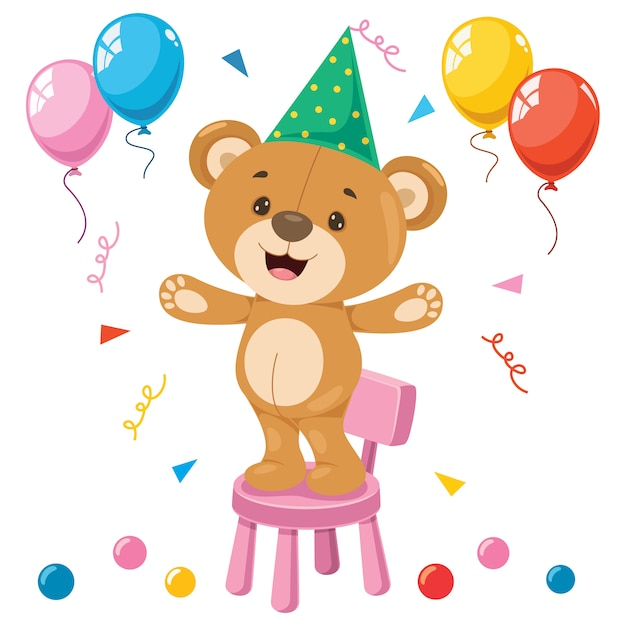 Little Funny Teddy Bear Cartoon | Premium Wektor