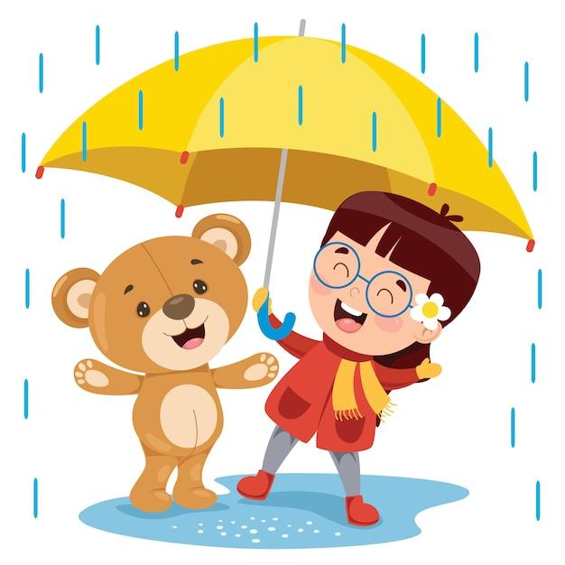 Little funny teddy bear cartoon Premium Wektorów